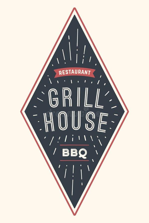 Loga BBQ grilla dom royalty ilustracja