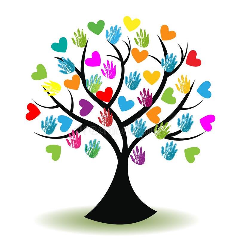 Loga drzewa serca i ręki royalty ilustracja