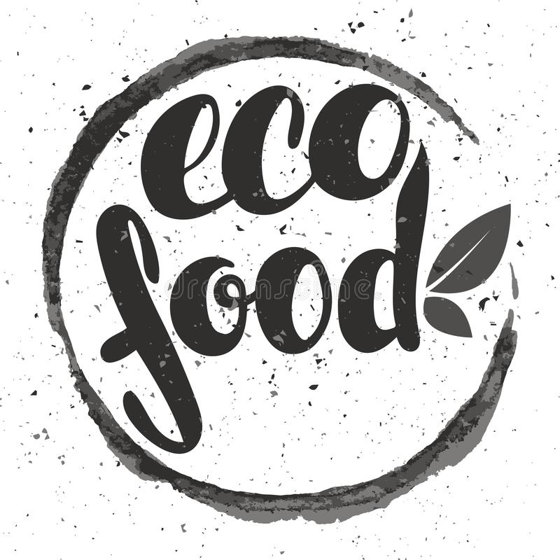 Loga eco jedzenie z liśćmi Żywności organicznej odznaka w wektorowym cosmeti ilustracja wektor