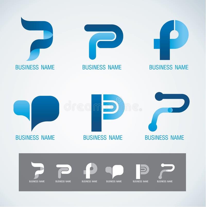 Loga i symbolu projekta P pojęcie royalty ilustracja