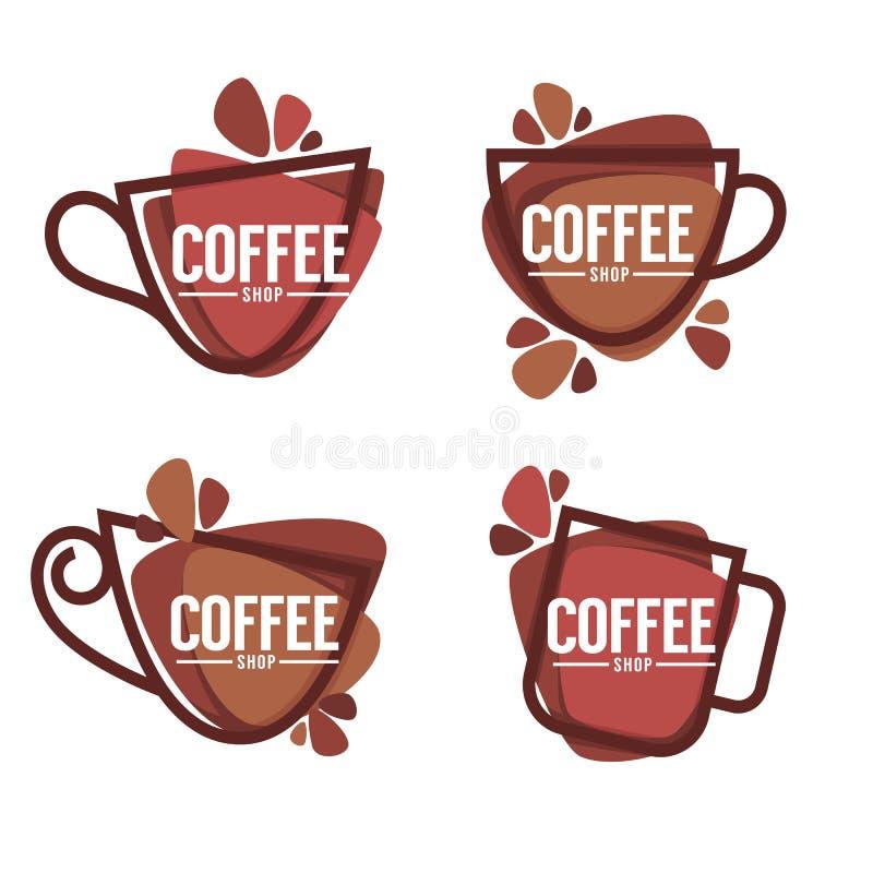 loga kawowy sklep Wektorowa kolekcja gorący i cukierki pije sym royalty ilustracja