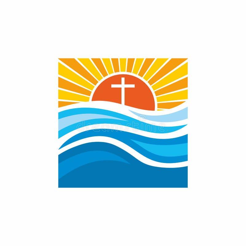Loga kościół Chrześcijańscy symbole Fala, krzyż, słońce, strumienie wodny żywy royalty ilustracja