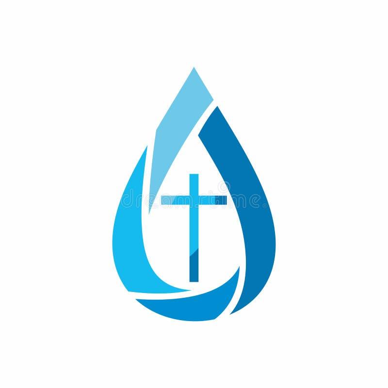 Loga kościół Chrześcijańscy symbole Kropla Jezus - źródło utrzymanie woda royalty ilustracja
