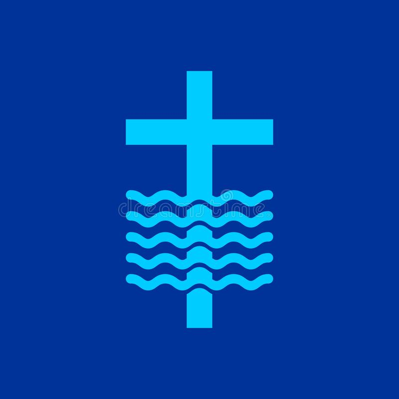Loga kościół Chrześcijańscy symbole Krzyż i fala Jezus - źródło utrzymanie woda ilustracji