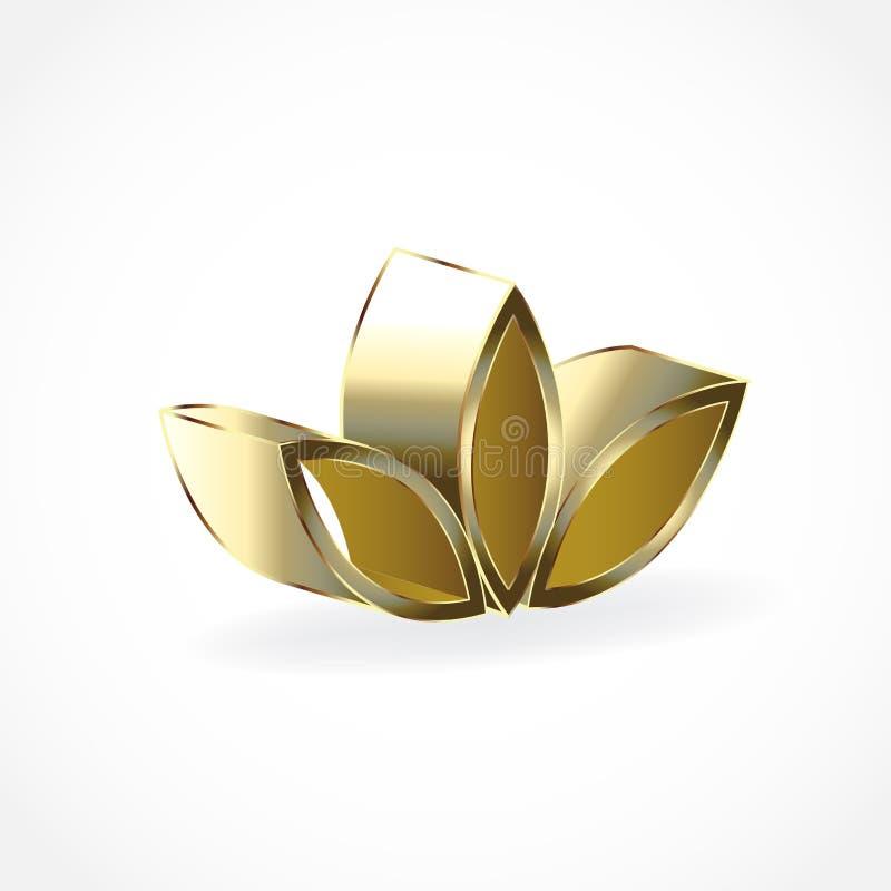 Loga lotosu 3D kwiatu pracy zespołowej złocisty symbol joga wektorowego wizerunku ilustracyjny graficzny projekt ilustracji