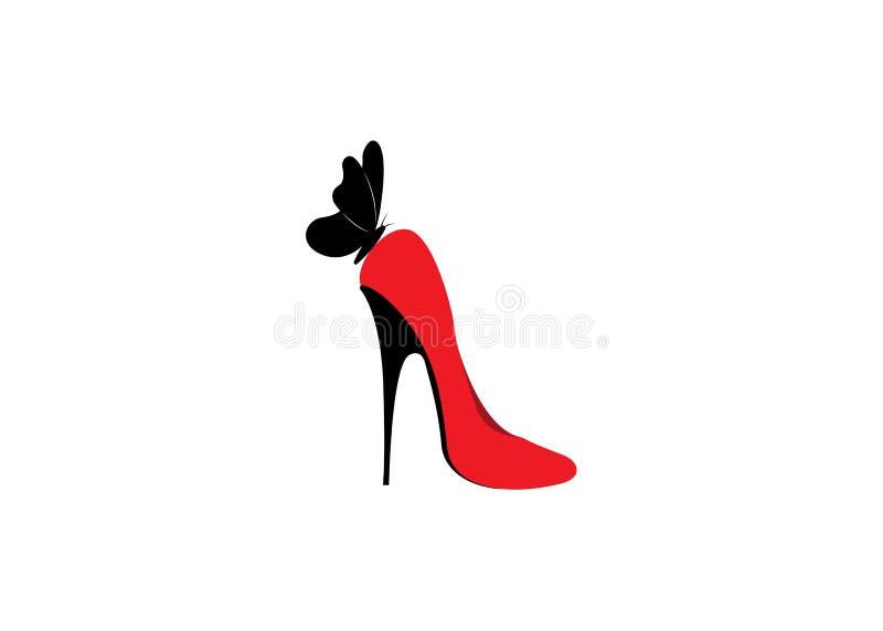 Loga obuwiany sklep, sklep, mody kolekcja, butik etykietka Firma loga projekt Czerwoni szpilki buty z motylem, odizolowywają ilustracji
