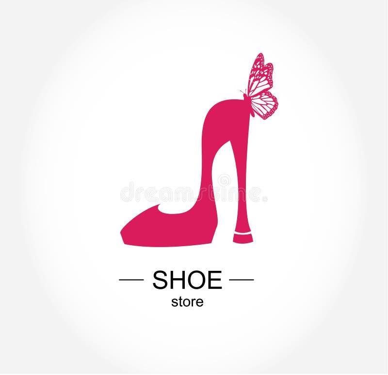 Loga obuwiany sklep, sklep, mody kolekcja, butik etykietka ilustracja wektor
