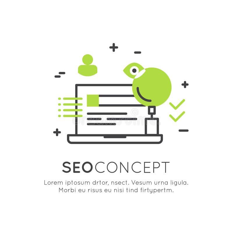 Loga pojęcie SEO wyszukiwarki optymalizacja proces royalty ilustracja