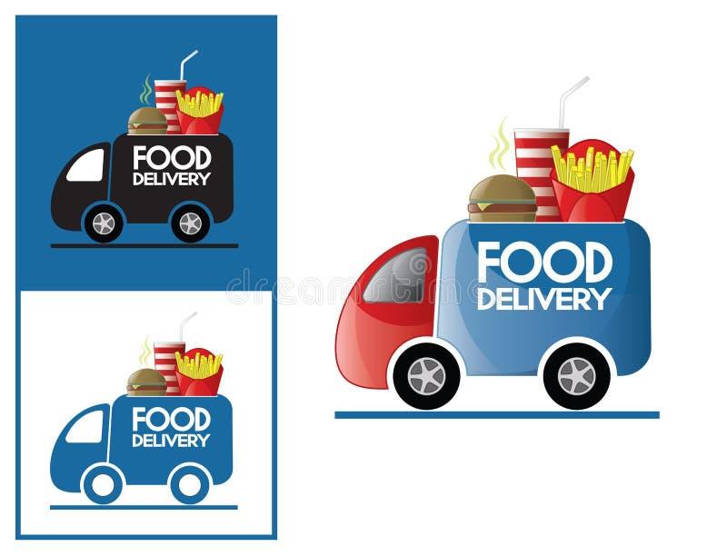 Loga projekta elementu fasta food doręczeniowa usługa ilustracja wektor