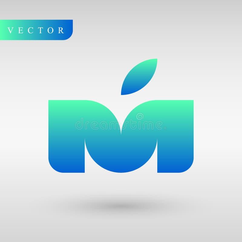Loga projekta M jabłko i list Geometria profesjonalisty logotyp tożsamość linie Biznesowy logotyp Gradientowy logotyp zdjęcia stock