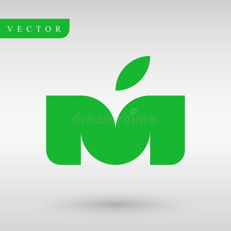 Loga projekta M jabłko i list Geometria profesjonalisty logotyp tożsamość linie Biznesowy logotyp również zwrócić corel ilustracj obraz stock