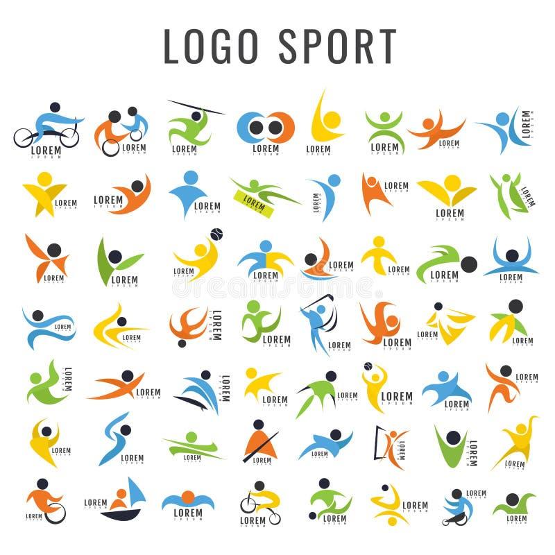 Loga sporta projekta kolekcja Freeform Normalni ludzie ` s sporta d royalty ilustracja