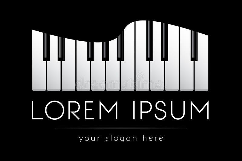 Loga szablon, muzyka, uroczystego pianina klucze, wektor royalty ilustracja