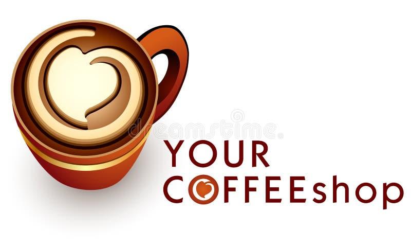 Loga szablonu kawiarni lub kawy biznes royalty ilustracja