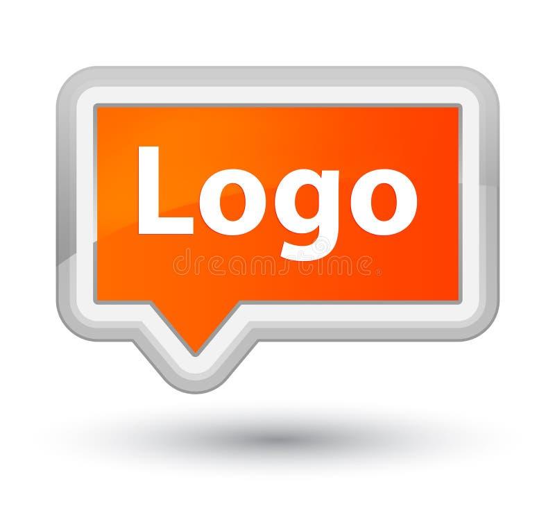 Loga sztandaru pierwszorzędny pomarańczowy guzik ilustracji