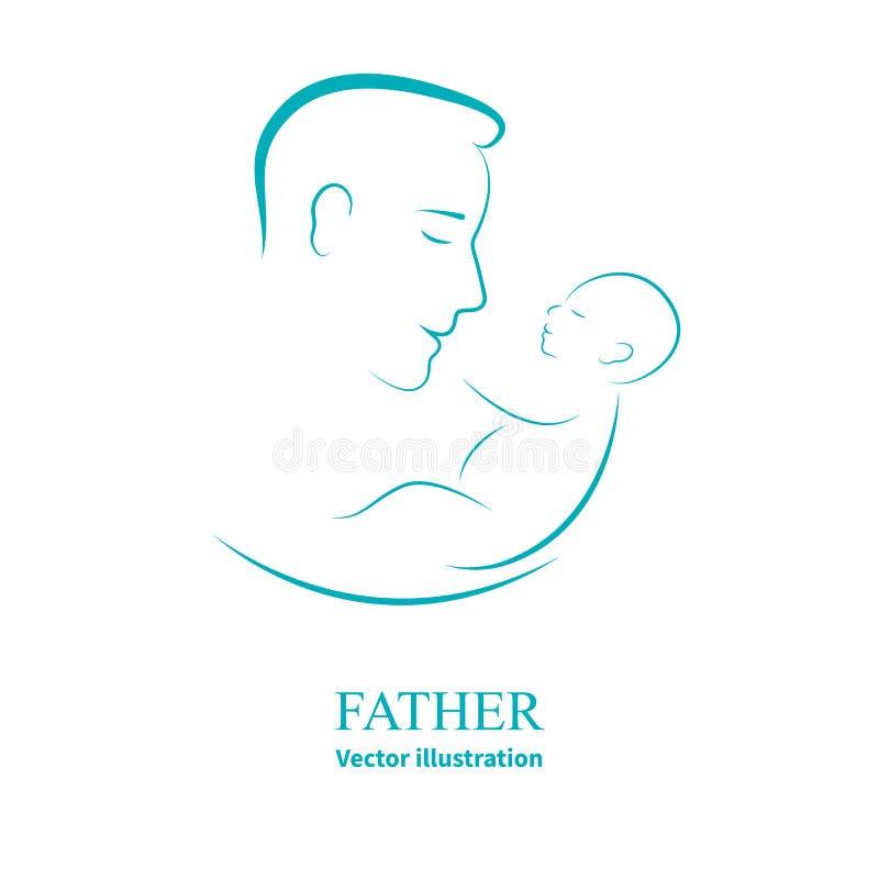Loga tata i nowonarodzony dziecko ilustracja wektor