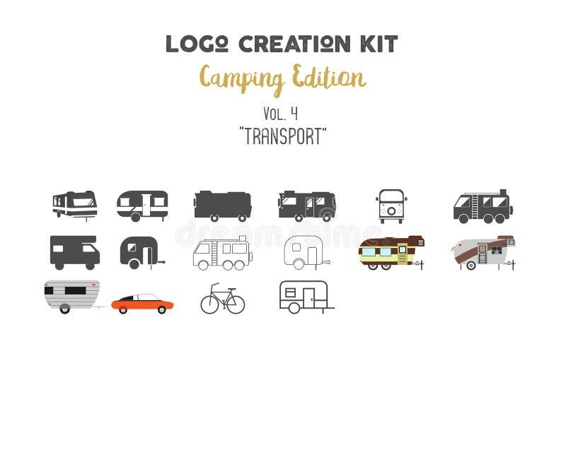 Loga tworzenia zestawu plik Campingowy wydanie set Transport dla podróż wektoru kształtuje i elementy - rv przyczepa ilustracja wektor