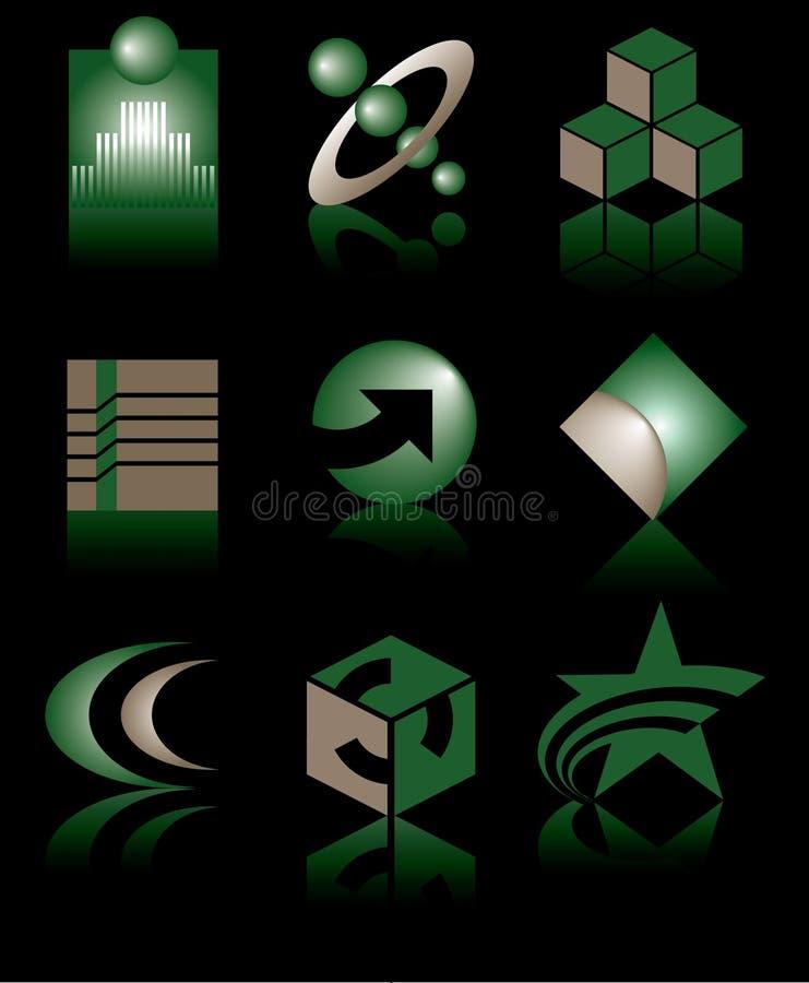 loga zielony set royalty ilustracja