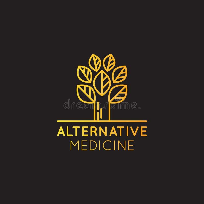 Loga znak Alternatywna medycyna IV witaminy terapia, starzenie się, Wellness, Ayurveda, Chińska medycyna Holistyczny centre ilustracja wektor