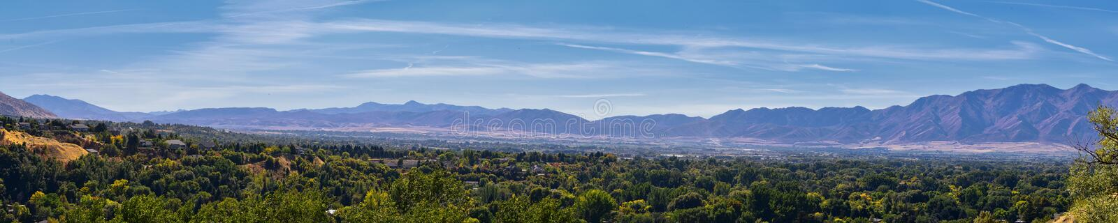 Logan Valley landscape views including Wellsville Mountains, Nibley, Hyrum, Providence and College Ward towns, home of Utah State. University, in Cache County a stock images