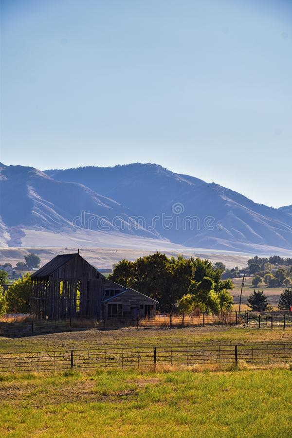 Logan Valley landscape views including Wellsville Mountains, Nibley, Hyrum, Providence and College Ward towns, home of Utah State. University, in Cache County a royalty free stock images