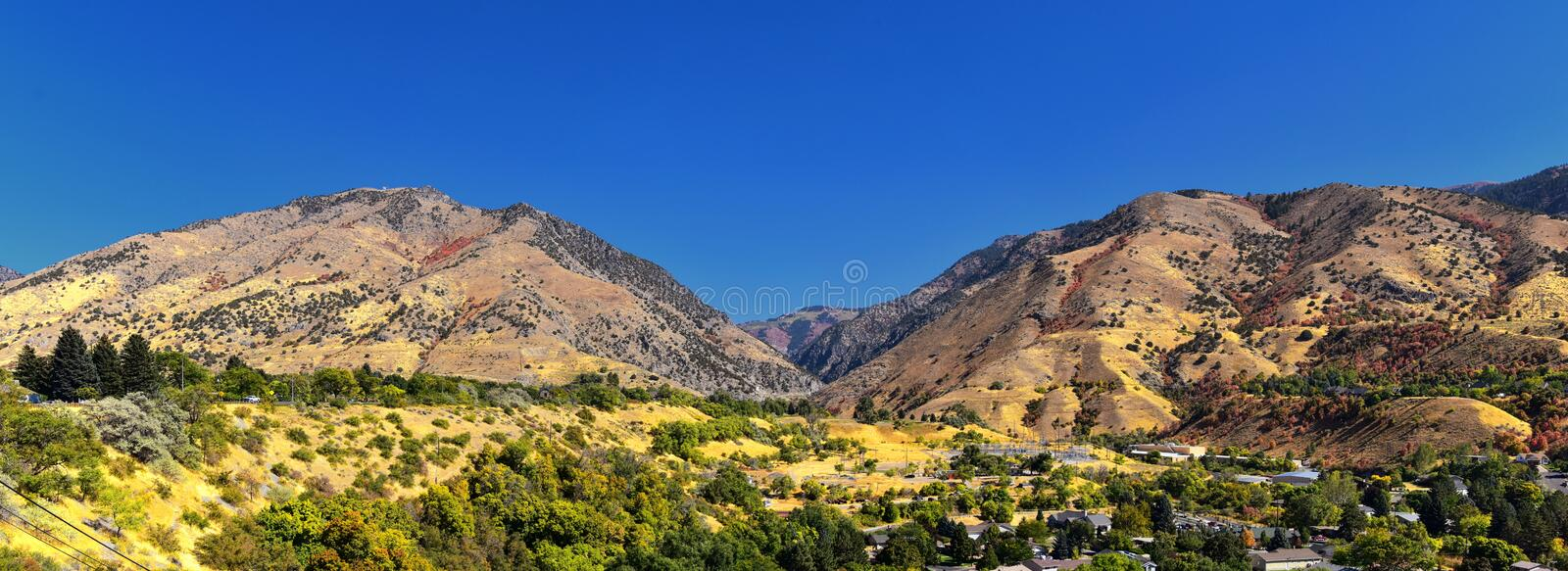 Logan Valley landscape views including Wellsville Mountains, Nibley, Hyrum, Providence and College Ward towns, home of Utah State. University, in Cache County a stock photography