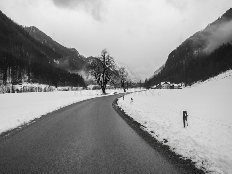 Logarska dolina in snowtime. Black and white royalty free stock photography