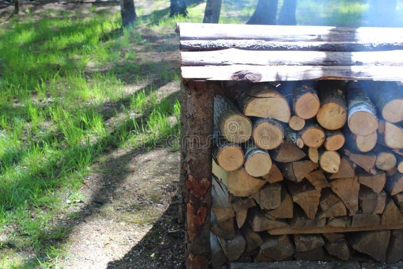 Logboeken, brandhout dat in woodpile wordt gestapeld royalty-vrije stock foto's