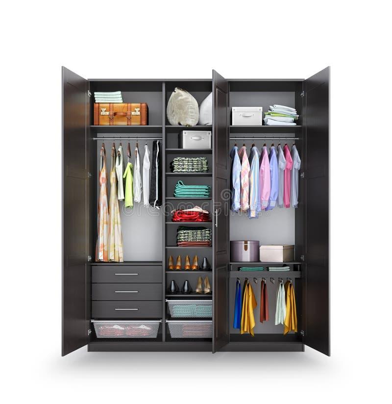 Loge Öppen garderob som göras av mörkt trä, kläder Hemligt rum royaltyfri fotografi
