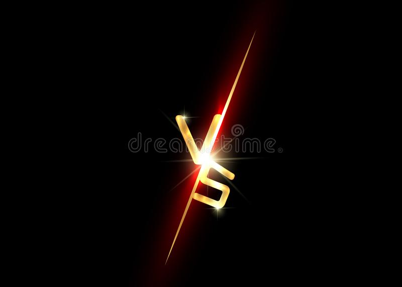 Gold versus logo vs letters for sports and fight competition. Battle vs match, game concept competitive V S isolated on black. Background. Golden lettering vector illustration
