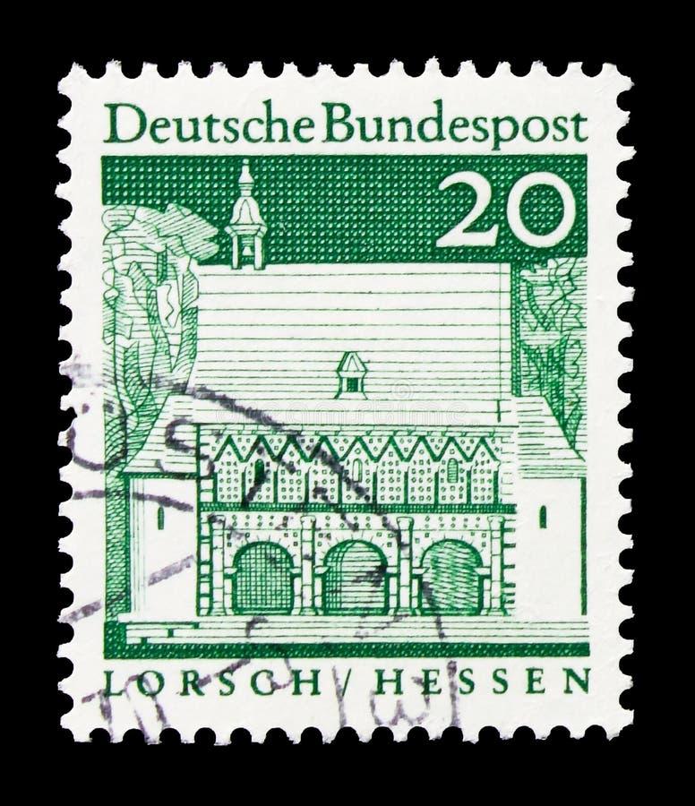 Loge du portier de Lorsch, Hesse, bâtiments allemands de douze siècles, serie de grande taille, vers 1967 images stock