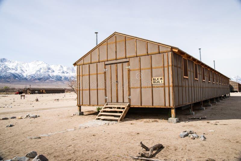 Logement de Braacks de centre de détention de Manzanar images stock
