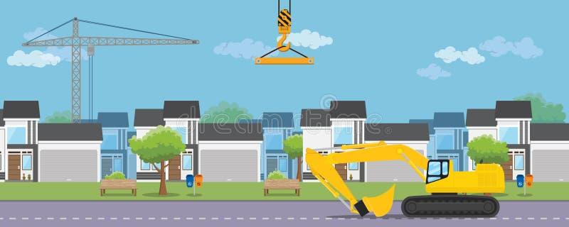 Logement du développement de construction d'immobiliers avec la maison et l'équipement lourd illustration libre de droits