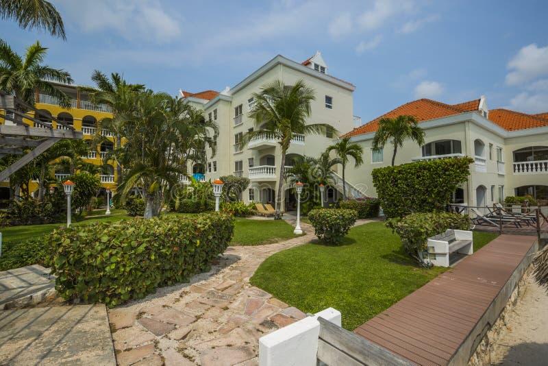 Logements colorés de station de vacances avec des palmiers images stock