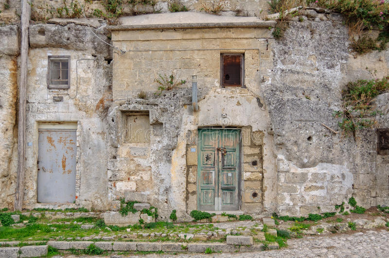 Logements de caverne - Matera image libre de droits