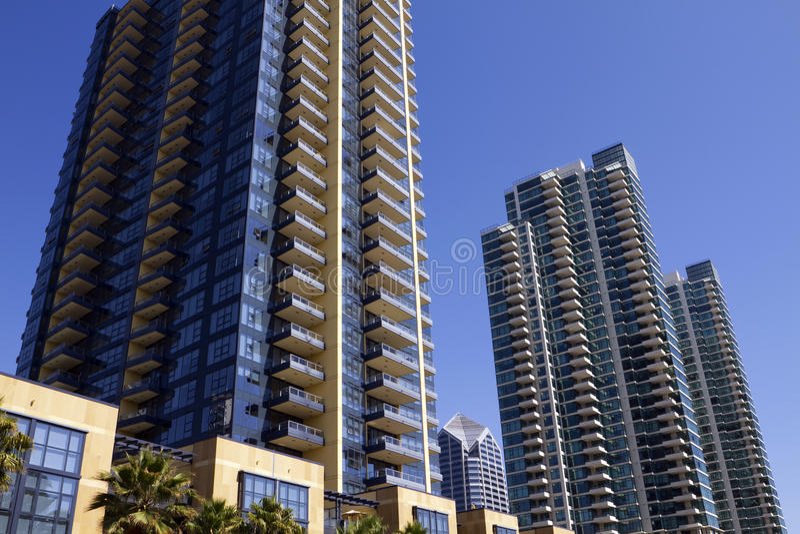 Logements du centre et détail de San Diego image libre de droits