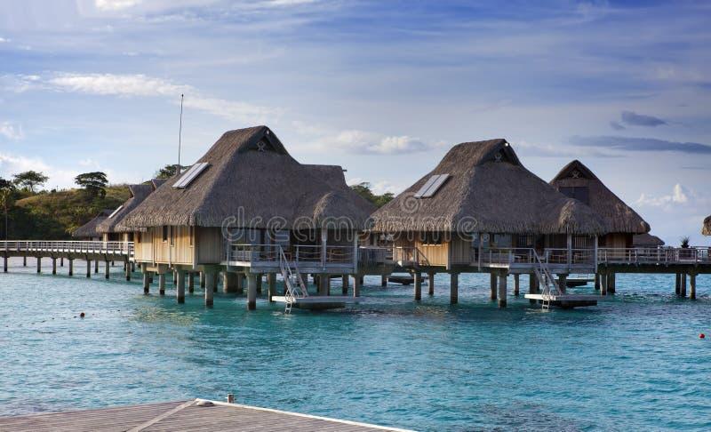 loges tropicales au-dessus de la mer et échelles dans l'eau photo libre de droits