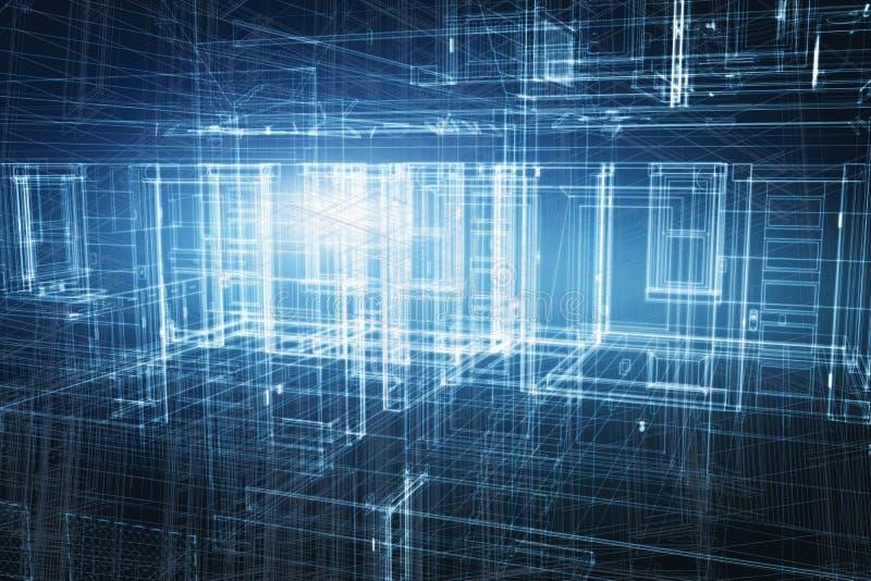 Logez 3d le projet, conception dans le wireframe de modèle illustration de vecteur