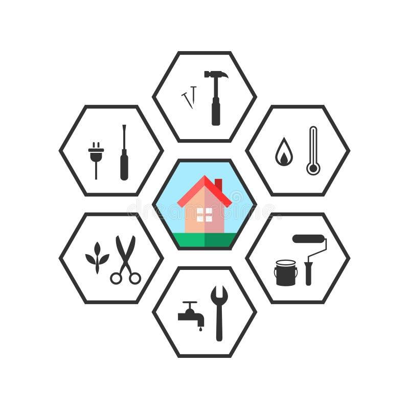 Logez et travaillez les icônes d'outil dans schéma illustration de vecteur