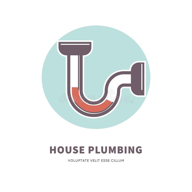 Logez l'emblème de service de tuyauterie avec l'illustration obstruée de tuyau illustration libre de droits