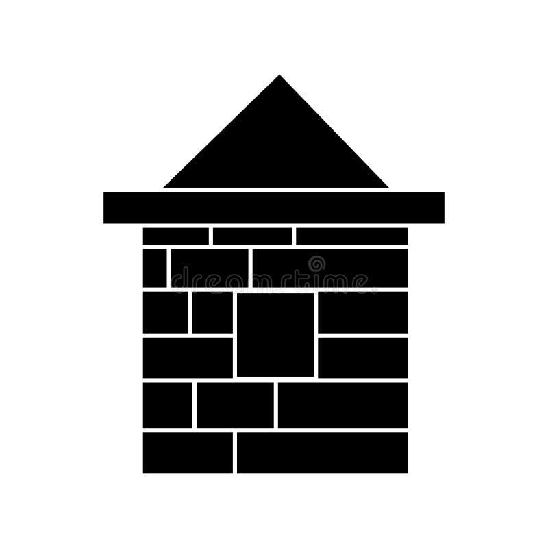 Logez l'icône de brique, illustration de vecteur, noir se connectent le fond d'isolement illustration stock