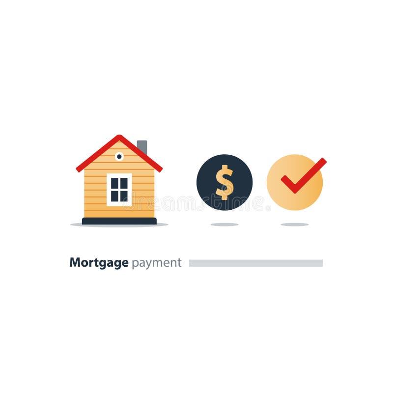 Logez l'icône de budget, investissement immobilier, paiement de loyer, achetez la nouvelle maison, assurance illustration stock