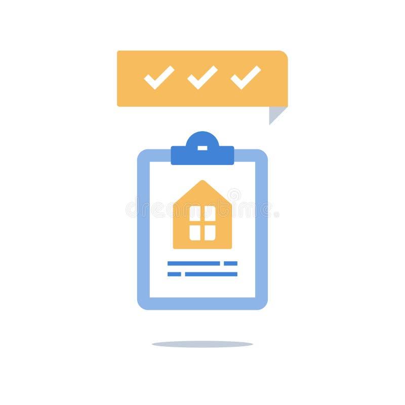 Logez la police d'assurances, prêt hypothécaire, propriétaire de logement, location de maison, services d'immobiliers, presse-pap illustration libre de droits
