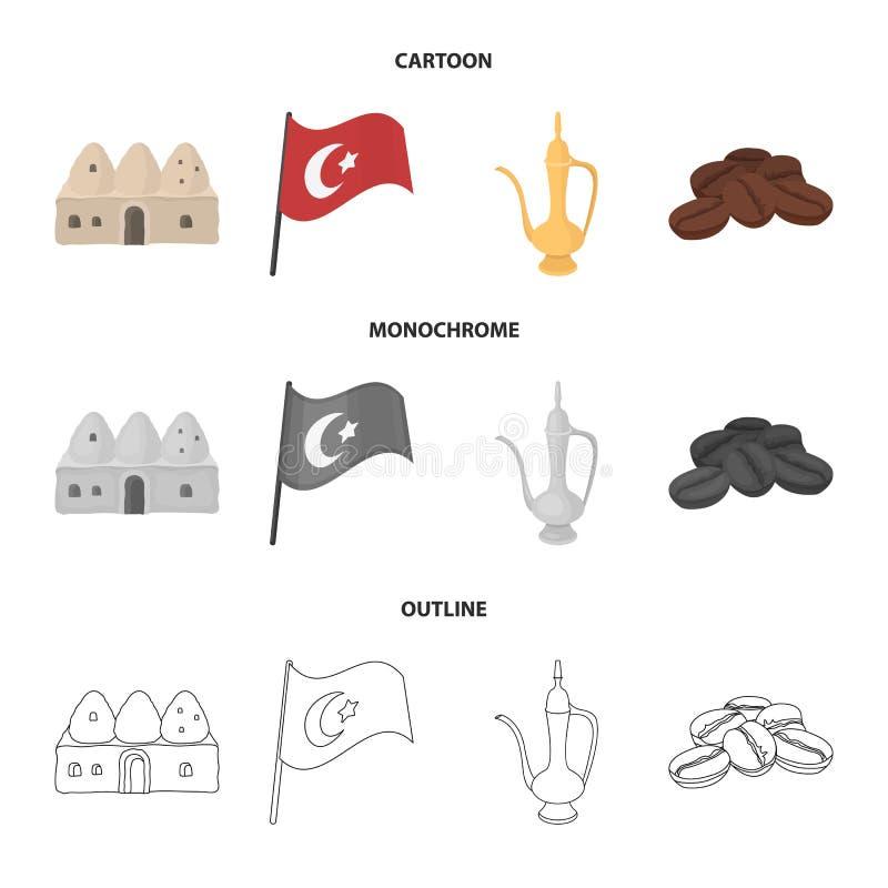 Logez la ruche, drapeau national, cuivre de pot de café, café de grains Icônes réglées de collection de la Turquie dans la bande  illustration de vecteur