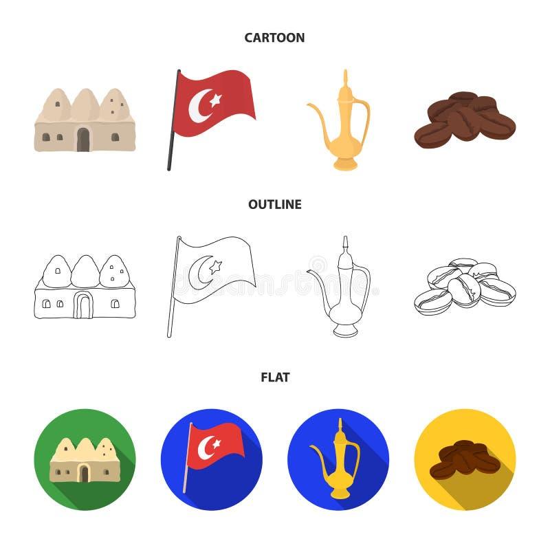 Logez la ruche, drapeau national, cuivre de pot de café, café de grains Icônes réglées de collection de la Turquie dans la bande  illustration libre de droits