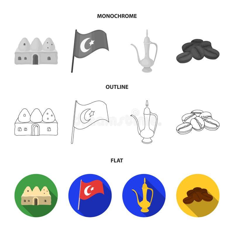 Logez la ruche, drapeau national, cuivre de pot de café, café de grains Icônes réglées de collection de la Turquie dans l'apparte illustration de vecteur