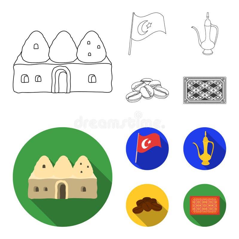 Logez la ruche, drapeau national, cuivre de pot de café, café de grains Icônes réglées de collection de la Turquie dans le contou illustration libre de droits