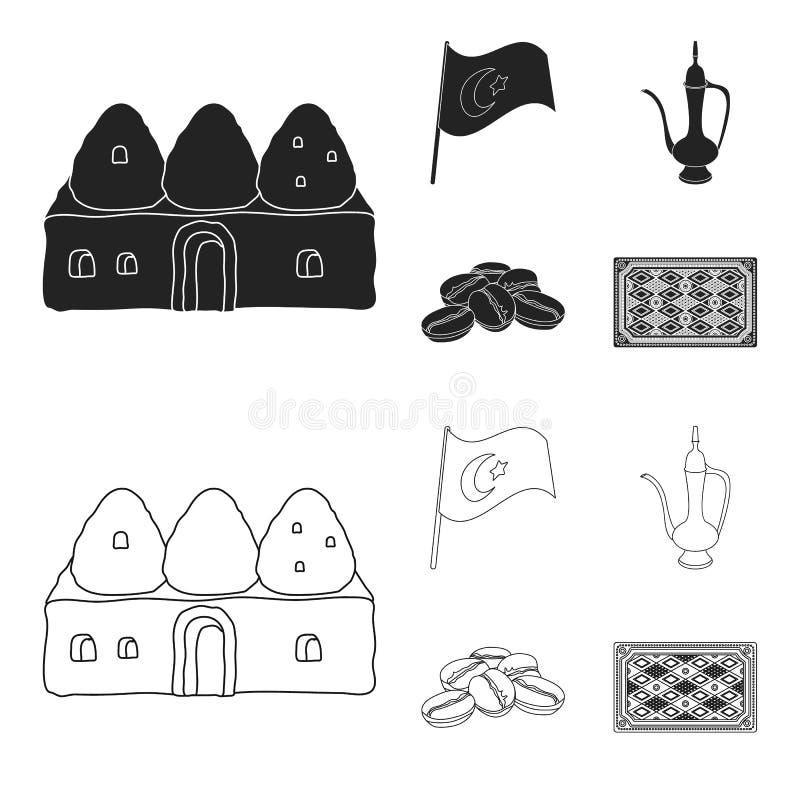 Logez la ruche, drapeau national, cuivre de pot de café, café de grains Icônes réglées de collection de la Turquie dans le noir,  illustration stock