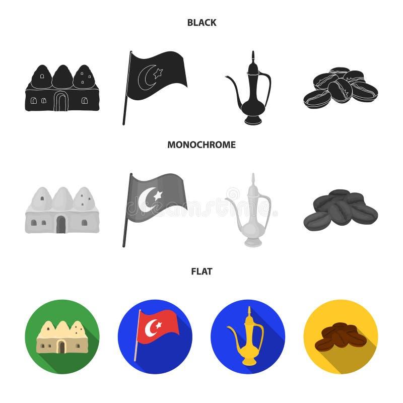 Logez la ruche, drapeau national, cuivre de pot de café, café de grains Icônes réglées de collection de la Turquie dans le style  illustration stock