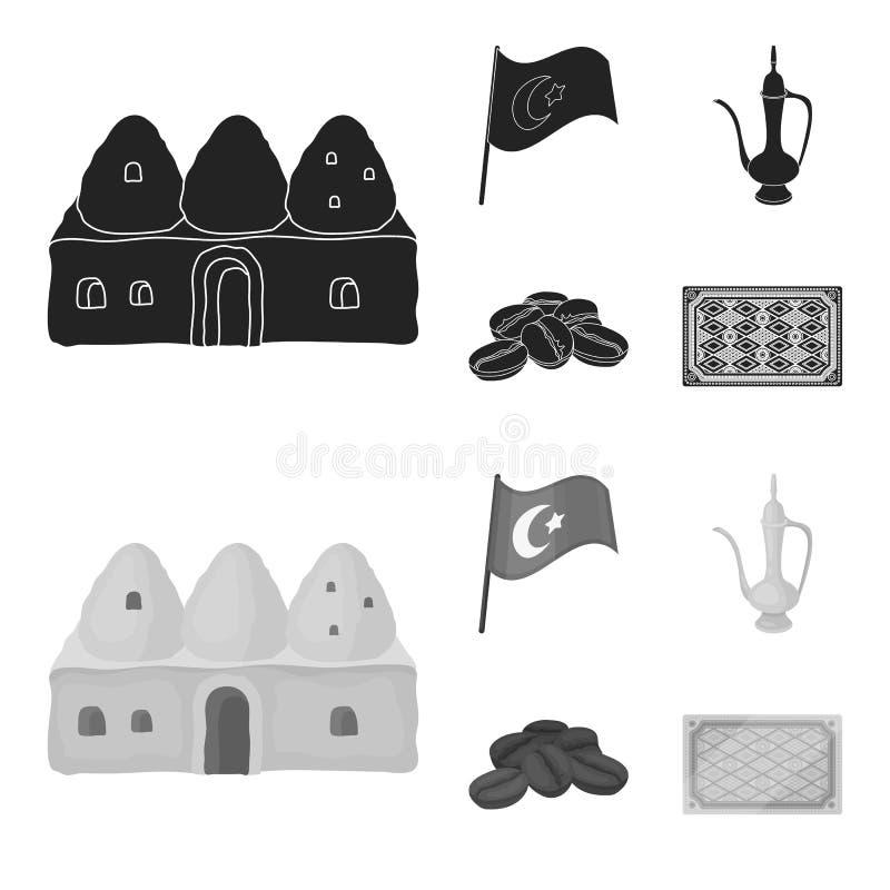 Logez la ruche, drapeau national, cuivre de pot de café, café de grains Icônes réglées de collection de la Turquie dans le vecteu illustration stock